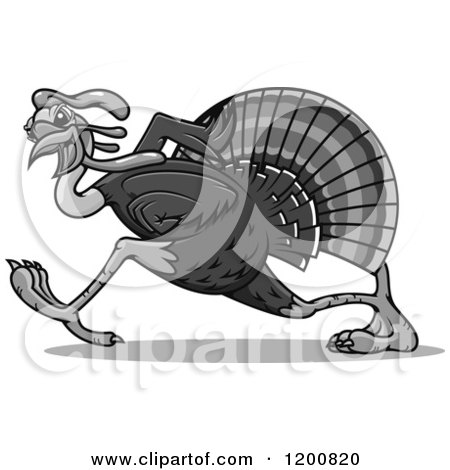 Clipart of a Grayscale Running Turkey Bird - Royalty Free Vector Illustration by Vector Tradition SM