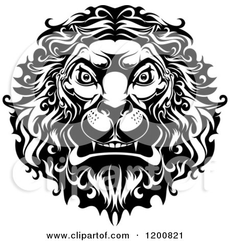 Clipart of a Black and White Angry Lion Head - Royalty Free Vector Illustration by Vector Tradition SM