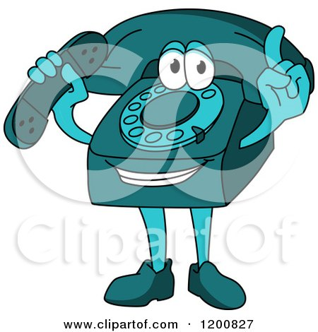 Clipart of a Turquoise Telephone Mascot Holding a Receiver and a Finger up - Royalty Free Vector Illustration by Vector Tradition SM