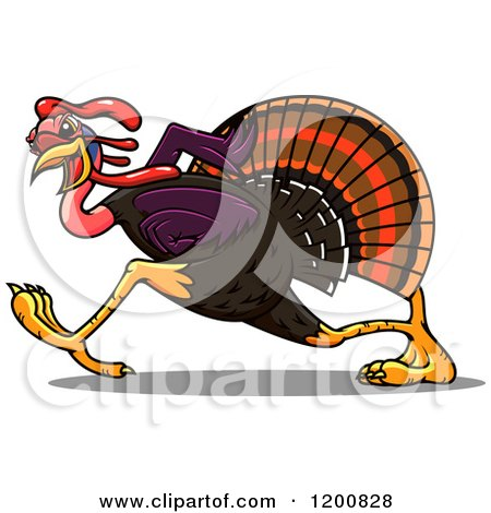Clipart of a Running Turkey Bird - Royalty Free Vector Illustration by Vector Tradition SM