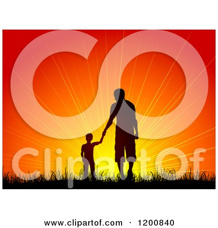 Clipart Of A Silhouetted Boy Holding Hands With A Man, Father And Son, Walking In Grass Towards An Orange Sunset - Royalty Free Vector Illustration by KJ Pargeter