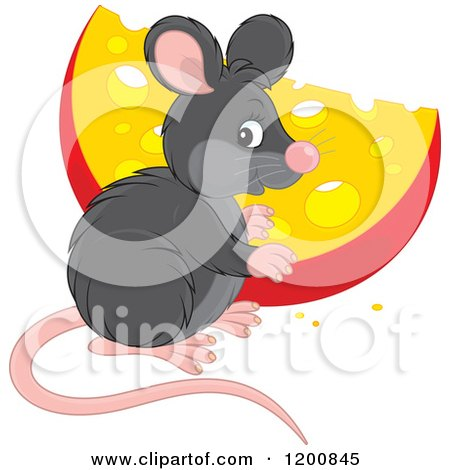 Cartoon of a Cute Black Mouse with a Cheese Wedge - Royalty Free Vector Clipart by Alex Bannykh