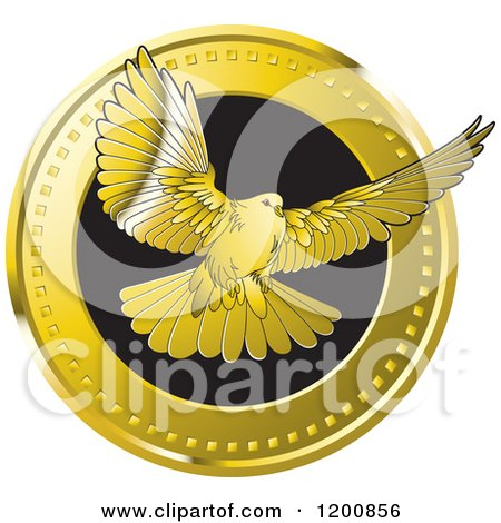 Clipart of a Gold Dove Flying from a Coin| Royalty Free Vector Illustration by Lal Perera