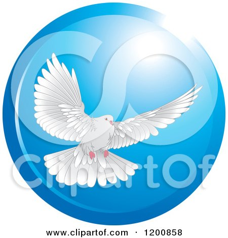 Clipart of a White Dove Flying in a Blue Circle - Royalty Free Vector Illustration by Lal Perera
