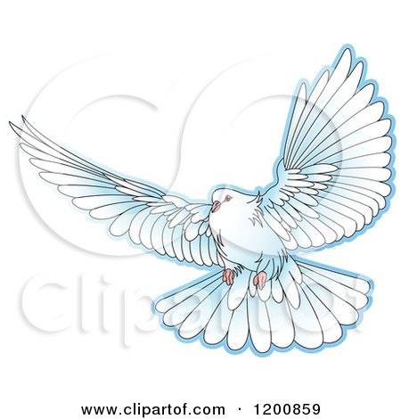 Clipart of a White Dove Flying - Royalty Free Vector Illustration by Lal Perera