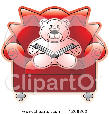 Cartoon of a Pink Teddy Bear Reading a Book in a Red Chair - Royalty Free Vector Clipart by Lal Perera
