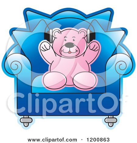Cartoon of a Pink Teddy Bear Wearing Headphones in a Blue Chair - Royalty Free Vector Clipart by Lal Perera