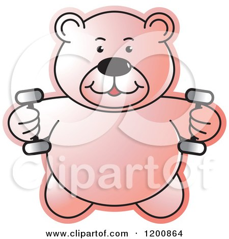 Cartoon of a Pink Fitness Teddy Bear Lifting Dumbbell Weights at the Gym - Royalty Free Vector Clipart by Lal Perera