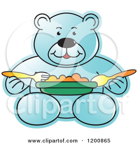 Cartoon of a Blue Teddy Bear Eating a Meal - Royalty Free Vector Clipart by Lal Perera