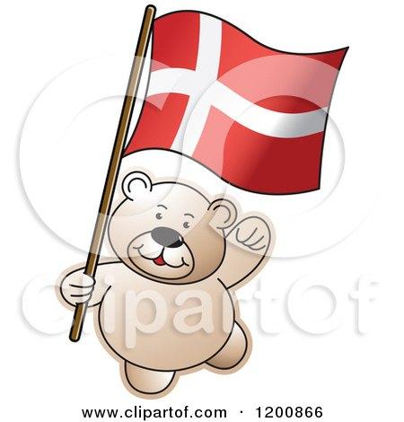 Cartoon of a Teddy Bear with a Denmark Flag - Royalty Free Vector Clipart by Lal Perera