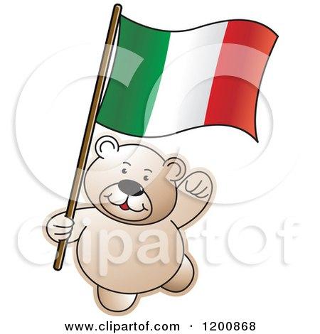 Cartoon of a Teddy Bear with an Italian Flag - Royalty Free Vector Clipart by Lal Perera