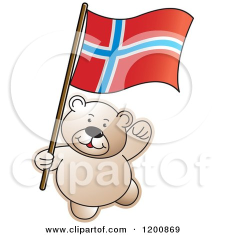 Cartoon of a Teddy Bear with a Norway Flag - Royalty Free Vector Clipart by Lal Perera