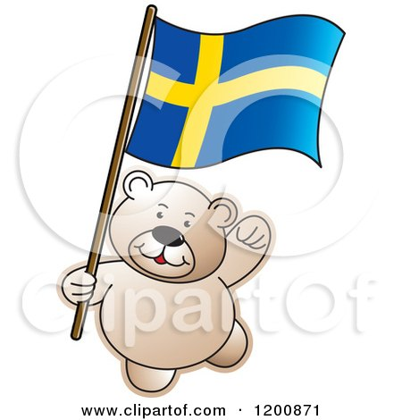 Cartoon of a Teddy Bear with a Sweden Flag - Royalty Free Vector Clipart by Lal Perera