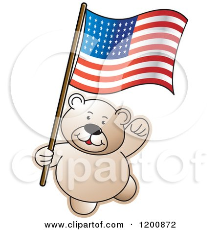 Cartoon of a Teddy Bear with an American Flag - Royalty Free Vector Clipart by Lal Perera
