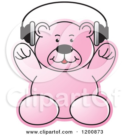 Cartoon of a Pink Teddy Bear Wearing Headphones - Royalty Free Vector Clipart by Lal Perera