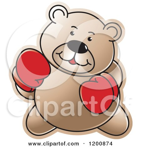 Cartoon of a Brown Boxing Teddy Bear - Royalty Free Vector Clipart by Lal Perera