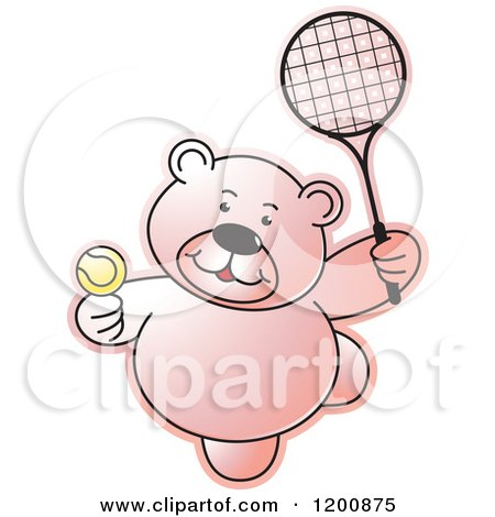 Cartoon of a Pink Teddy Bear Playing Tennis - Royalty Free Vector Clipart by Lal Perera