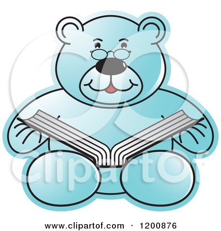 Cartoon of a Blue Teddy Bear Reading a Book - Royalty Free Vector Clipart by Lal Perera