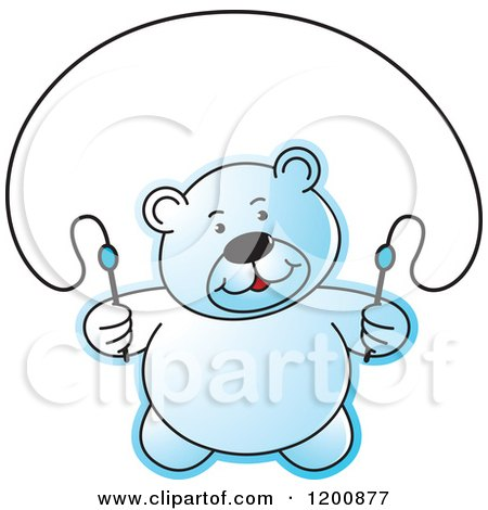Cartoon of a Blue Teddy Bear Using a Jump Rope - Royalty Free Vector Clipart by Lal Perera