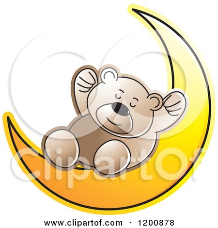 Cartoon of a Brown Teddy Bear Sleeping on a Crescent Moon - Royalty Free Vector Clipart by Lal Perera