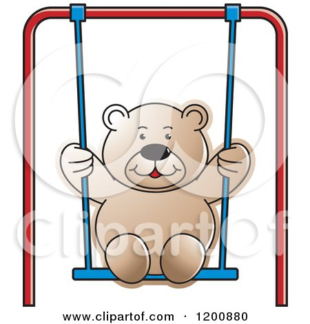 Cartoon of a Brown Teddy Bear Swinging - Royalty Free Vector Clipart by Lal Perera