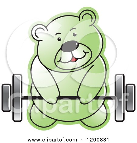 Cartoon of a Green Teddy Bear Lifting a Barbell - Royalty Free Vector Clipart by Lal Perera