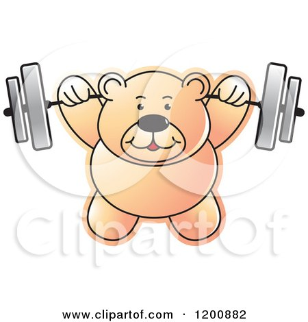 Cartoon of a Strong Teddy Bear Lifting a Barbell - Royalty Free Vector Clipart by Lal Perera