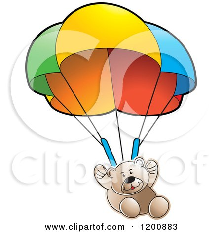 Cartoon of a Brown Teddy Bear Floating with a Parachute - Royalty Free Vector Clipart by Lal Perera
