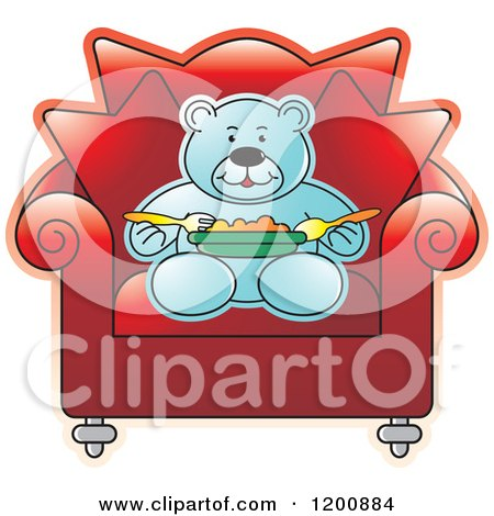Cartoon of a Blue Teddy Bear Eating in a Red Chair - Royalty Free Vector Clipart by Lal Perera