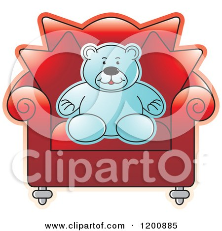 Cartoon of a Blue Teddy Bear Sitting in a Red Chair - Royalty Free Vector Clipart by Lal Perera
