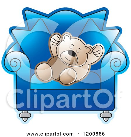 Cartoon of a Brown Teddy Sleeping in a Blue Chair - Royalty Free Vector Clipart by Lal Perera