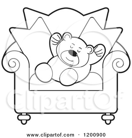 Cartoon of a Black and White Teddy Bear Sleeping on a Chair - Royalty Free Vector Clipart by Lal Perera