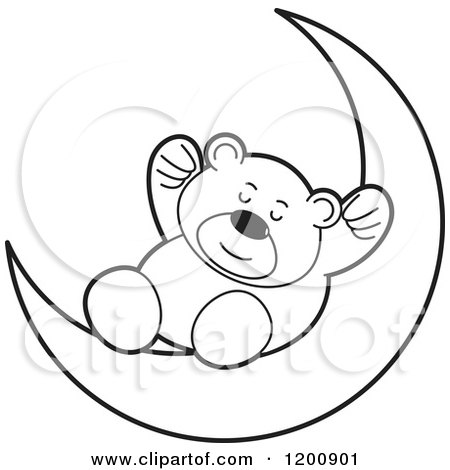 Cartoon of a Black and White Teddy Bear Sleeping on a Crescent Moon - Royalty Free Vector Clipart by Lal Perera