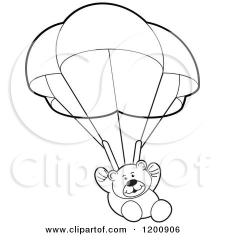 Cartoon of a Black and White Teddy Bear Floating with a Parachute - Royalty Free Vector Clipart by Lal Perera