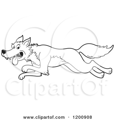 Cartoon of a Black and White Outlined Running Wolf ...