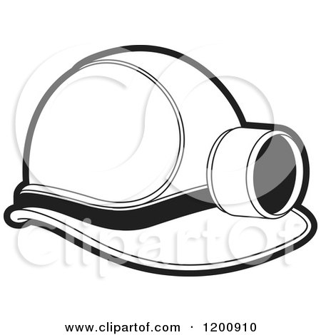 Clipart of a Black and White Mining Helmet and Lamp - Royalty Free Vector Illustration by Lal Perera