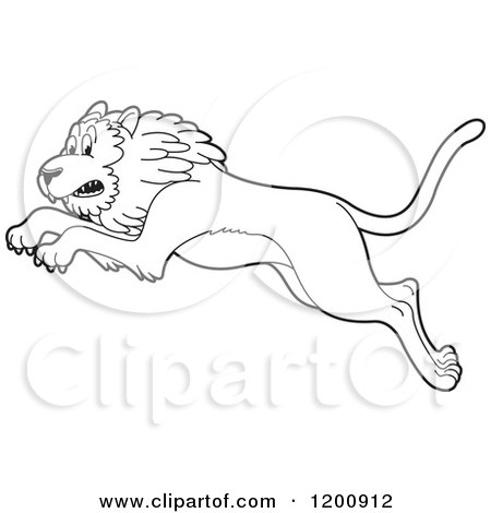 Cartoon of a Black and White Outlined Leaping Lion - Royalty Free Vector Clipart by Lal Perera