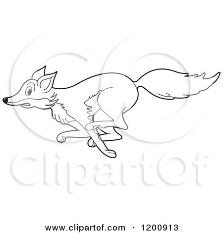 Fox black and white clipart