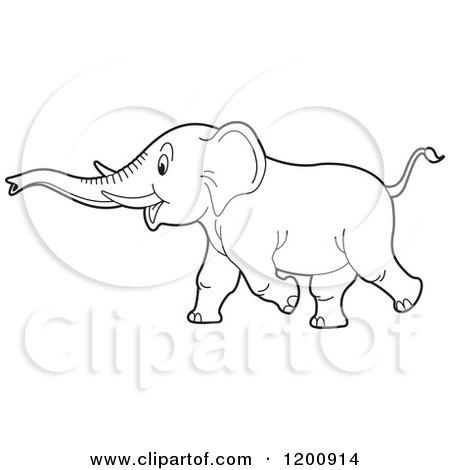 Cartoon of a Black and White Outlined Running Elephant - Royalty Free Vector Clipart by Lal Perera