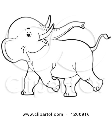 Cartoon of a Cute Black and White Outlined Playful Baby Elephant    Cartoon Elephant Black And White