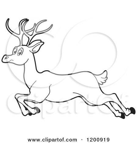 Cartoon of a Black and White Outlined Running Deer - Royalty Free Vector Clipart by Lal Perera