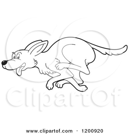 Cartoon of a Black and White Outlined Running Dog ...