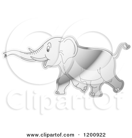 Cartoon of a Reflective Silver Running Elephant - Royalty Free Vector Clipart by Lal Perera