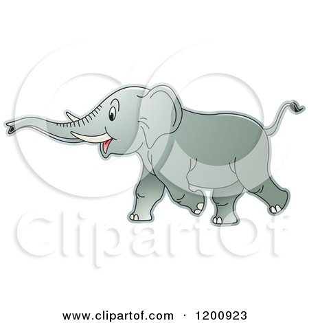 Cartoon of a Running Elephant - Royalty Free Vector Clipart by Lal Perera