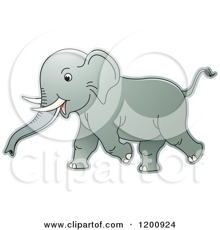 Cartoon of a Running Baby Elephant - Royalty Free Vector Clipart by Lal Perera