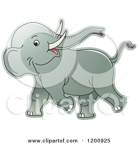 Cartoon of a Cute Playful Baby Elephant - Royalty Free Vector Clipart by Lal Perera