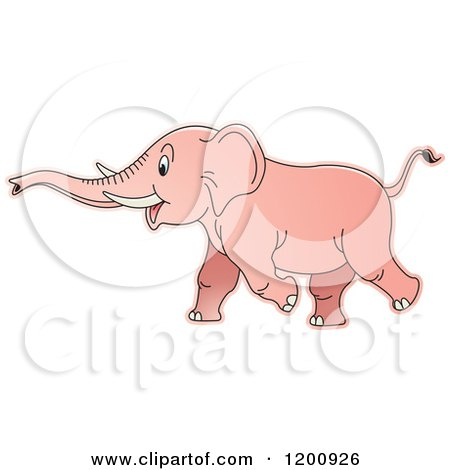 Cartoon of a Pink Running Baby Elephant - Royalty Free Vector Clipart by Lal Perera