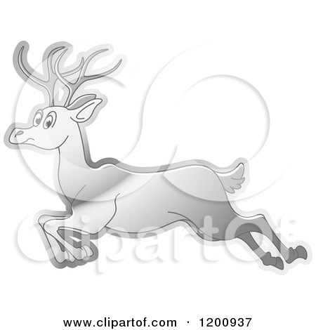 Cartoon of a Reflective Silver Running Deer - Royalty Free Vector Clipart by Lal Perera