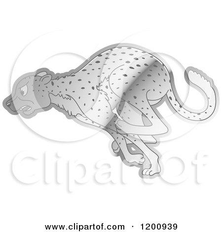 Cartoon of a Reflective Silver Running Cheetah - Royalty Free Vector Clipart by Lal Perera