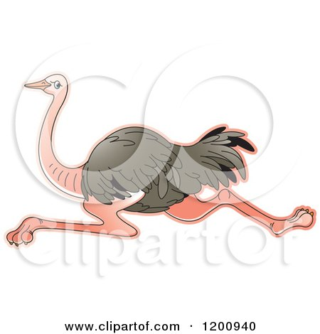 Cartoon of a Running Ostrich - Royalty Free Vector Clipart by Lal Perera